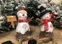 Jolly Snowman Shelf Sitters ~ Set of 2 ~ Christmas Mantel Decorations